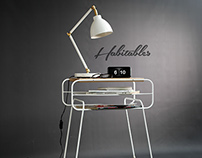 White on black Double Nightstand Iron & wood serie