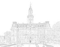 Sadecki town hall in sketchbook