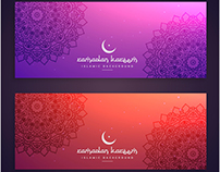 free vector ramadan kareem colorful banners cards