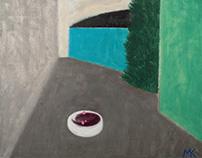 """""""Budenovsky village""""; oil on canvas"""