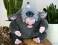 Grey Cyclops, fantasy creature, OOAK soft art toy