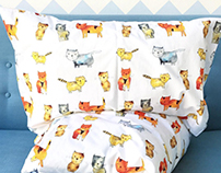 """Kitties"" pattern for kids bedding"
