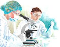 Watercolor medical illustrations