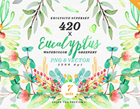 -75% Greenery Watercolor Eucalyptus 3