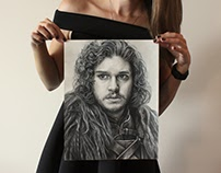 Jon Snow Charcoal Portrait