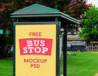 3 Free HQ Outdoor Advertising Bus Stop Mockup PSD Files