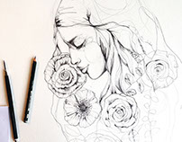 Pencil sketches + flowers 2016