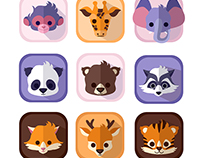 Nine Cute Baby Animals Icons