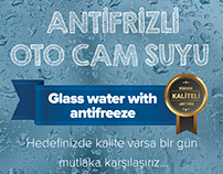 Glass water with antifreeze