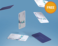 Free Gravity Business Card Mockup