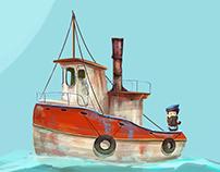 Digital painting , Ship illustration
