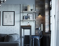 Visualization. Loft in a small apartment (living room)
