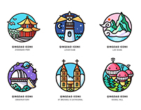Qingdao tourist attractions icon design