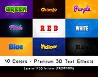 Premium 3D Text Effects - 10 Colors