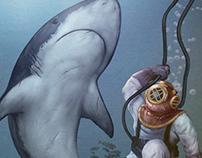 Deep diver and shark