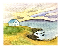 Watercolor Sketch of landscape in Iceland