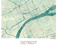 Detroit Map US, blue vintage watercolor