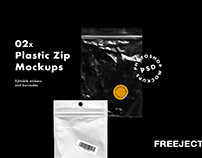 Free Small Plastic ZIP with Sticker & Barcode Mockups
