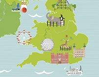 Illustrated map of UK for Tesco Magazine