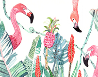 Tropical Flowers, Exotic Birds and Animals
