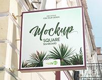 Free Square Signboard PSD MockUp in 4k
