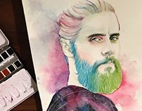 Watercolor of Jared Leto