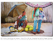 The Fruit Seller -Oil Color Painting - by Kamal Nishad