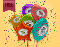FREE Foil Balloon Party Pack Sample Mockup Template