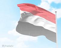 3Dعلم اليمن