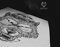 Wolf and Skull - Dotwork