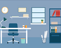 Office workplace equipment flat design - Illustration.