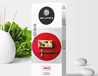 """Trifold brochure menu for cafe """"Pizza & Roll"""""""