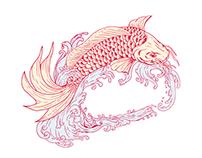 Nishikigoi Koi Jumping Waves Drawing