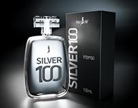Logotipo e embalagem do perfume Silver 100.