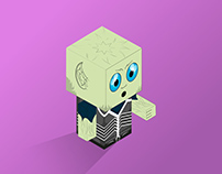 Alien Cubecraft Illustration