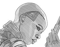 Line illustration of Okoye