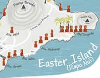 Illustrated map of Easter Island