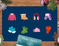 Winter theme flat icons