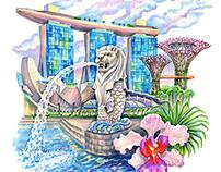 Illustration for Singapore festival