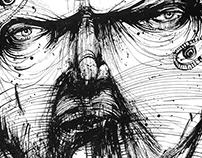 5 drawings in ink using chopsticks