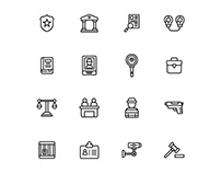 Justice And Law Icons Set