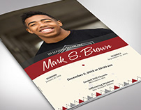 Argyle Funeral Program Word Publisher Template, Bi-fold