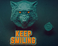 Wolf face relief