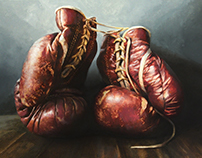 """Boxer"" Oil on canvas"