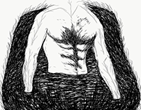 Digital sketch of torso in a marsh/pond