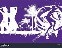 palm beach surfer graphic design vector art