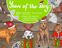 """""""Year Of The Dog"""" vector hand drawn collection"""