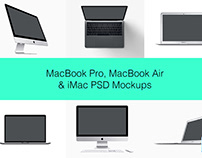 10 MacBook Pro, MacBook Air & iMac PSD Mockups