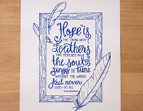 Hand-lettering | Hope and Feathers Framing