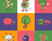 Quirky fruit and vegetable characters.